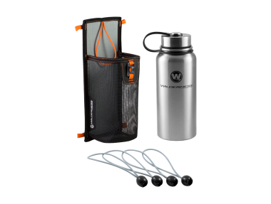 Water Bottle and Mesh Storage Sleeve